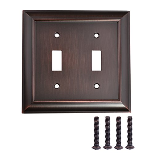 Covers Switch Age Light (AmazonBasics Double Toggle Light Switch Wall Plate, Oil Rubbed Bronze, Set of 2)