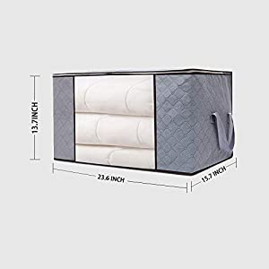 Storage Bags with Double Zippers,Large Capacity Foldable Storage Bag for Comforters, Large Clear Window & Portable Handles, Great for Clothes, Blankets, Closets, Bedrooms cleaning(Grey, 3 Packs)