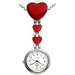 Top Plaza Womens Girls Heart Angle Wing Nurse Fob Clip On Brooch Hanging Pocket Watch - Red