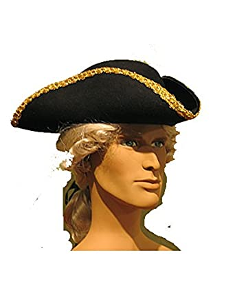 Men's Historical Black Wool Tricorn Pirate Captain Hat with Gold Braid Trim Custom Made to Your Personal Head Measurements by Atelier Marega