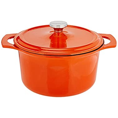 Rachael Ray Cast Iron 5-Quart Covered Round Casserole, Orange