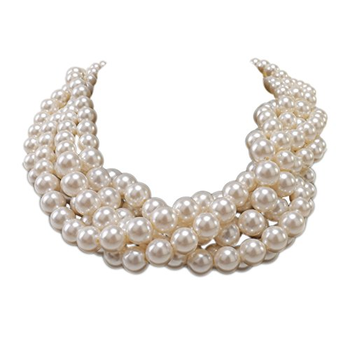 Kalse Simulated Pearl White Beads Cluster Statement Chunky Bib Short Choker Necklace 16 17 18 inch -