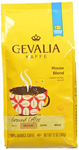 GEVALIA House Blend Coffee, Medium Roast, Ground, 12 Ounce, 6 Pack