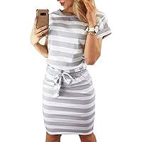 Asskdan Women's Casual Short Sleeve Knee Length Belted Dress Pockets