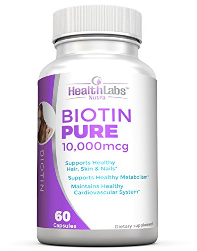 Health Labs Nutra Biotin Pure 10,000mcg per Veggie Capsule- Promotes Healthier Skin, Hair and Nails (30-Day Supply)
