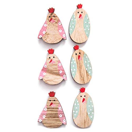 6 süße kleine Hühner aus Holz mit Klebepunkt zur Dekoration an Ostern; 4,5 cm auch als Streuteile für den Ostertisch oder zum Verzieren von Karten