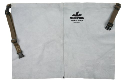 MCR Safety 38318MW 24 by 18-Inch Memphis Split Cow Leather Welding Waist Apron, Gray