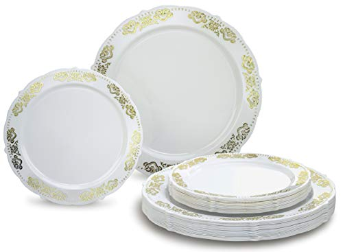 """"""" OCCASIONS"""" 240 PACK Heavyweight Vintage Wedding Party Disposable Plastic Plates Set - 120 x 10.25"""