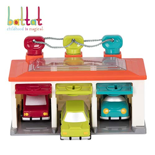 Battat - 3 Car Garage - Shape Sorting Toy Garage with Keys and 3 Toy Cars for Toddlers 2 years + (5-Pcs) (Tayo The Little Bus Garage)