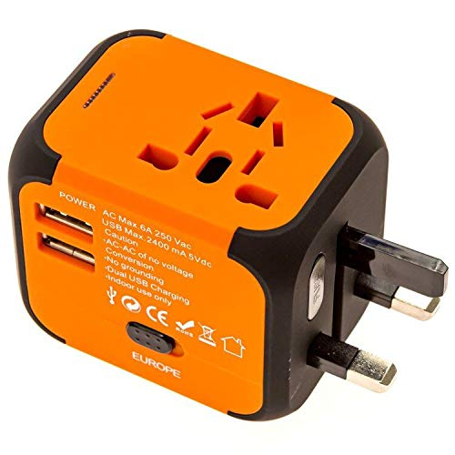 America Standard Adapter - icyber Worldwide Travel Adapter, Premium Universal International Plug [US UK EU AU] with Dual USB Charging Ports & Universal AC Socket, Safety Fused (Orange)