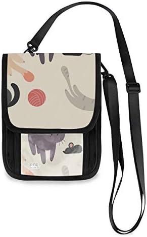 トラベルウォレット ミニ ネックポーチトラベルポーチ ポータブル こねこ かわいい 猫 小さな財布 斜めのパッケージ 首ひも調節可能 ネックポーチ スキミング防止 男女兼用 トラベルポーチ カードケース