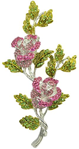 Gyn&Joy Pink Rose Bud with Green Leaf Austrian Crystal Rhinestone Brooch Pin BZ003