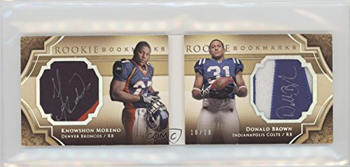 Knowshon Moreno; Donald Brown #/10 (Football Card) 2009 Upper Deck Exquisite Collection - Rookie Bookmarks - Gold (Gold Collection Bookmarks)