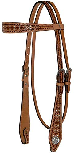 (Circle Y Geometric Tool Browband Headstall with Crystals. )