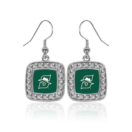 Primary Earrings Logo (CollegeFanGear Stetson Crystal Studded Square Pendant Silver Dangle Earrings 'Primary logo')