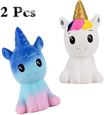 Anboor Squishies 2 Pcs Unicorn Horse Kawaii Soft Slow Rising Scented Squishies Toys Stress Relief Kid Toys Decoration Props(1 White & 1 Galaxy)