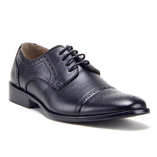 Men's 95733 Leather Lined Perforated Cap Toe Oxford Dress Shoes, Black, 10