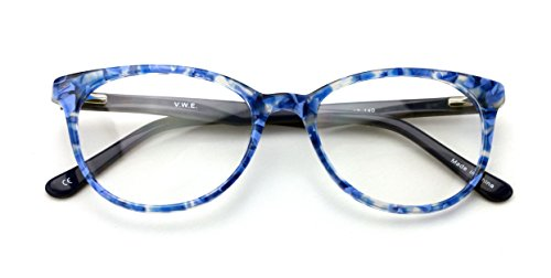 Women Floral Fashion Acetate Non-prescription Glasses Frame Clear Lens Eyeglasses Rx'able (Blue) (90er Brillen Frames)