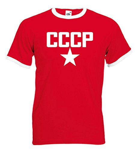 fan products of CCCP Star Retro Football T-shirt (XXL, Red)