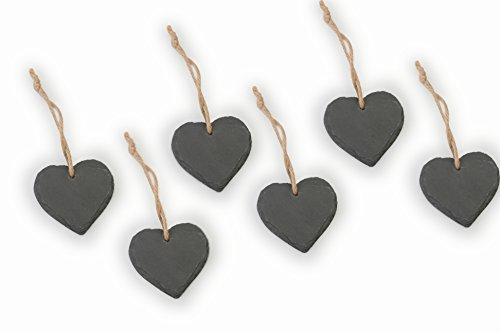 Artestia Natural Slate Heart Shaped Chalkboard on Jute Hanger for Weddings, Parties, and Creating, 2.75
