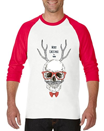 Blue Tees Ugly Sweater Merry Christmas Skull with Eyeglasses and Bowtie Unisex Raglan Baseball T-Shirt XXX-Large White Red