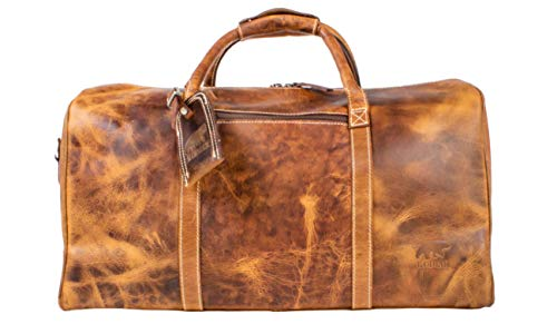 Kodiak Leather Weekender Travel Duffel (30L), Canvas Outdoor Bag With Handles and Shoulder Strap