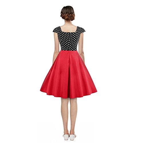 ZAFUL Mujer Vintage Vestido Falda Estampado de LunaresElegante Vestidos de Fiesta Noche sin Manga Cuello Cuadrado S a 2XL Rojo