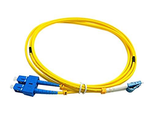 CableJoy LC-SC 9/125 OS1 Duplex Singlemode PVC Fiber Optic Cable, Yellow (3 Meter)
