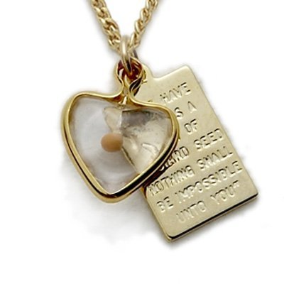 10K Gold Filled Mustard Seed Heart with Passage Plate Pendant Set, 1/2 Inch Over Passage Set