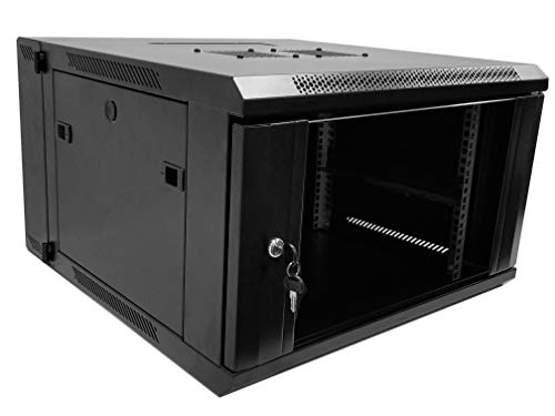 6U Professional Wall Mount Server Cabinet Enclosure Double Section Hinged Swing Out 19-Inch Server Network Rack with Locking Glass Door Black (Fully Assembled)