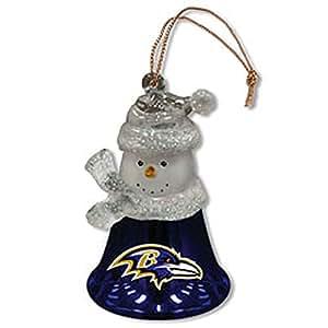 Baltimore Ravens Snowman Bell Ornaments - Set Of 3