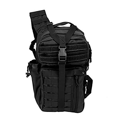 Outlaw II Tactical Gear Slinger Sling Pack, Over Shoulder Day Pack/Survival Sling Bag with MOLLE/Outdoor, Survival, Get Home Bag (Black, Grey, Tan, OD)
