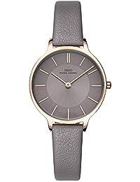 Women Fashion Simple Watch Ultra-Thin Retro Quartz Analog Leather Strap Ladies Wristwatch (All Grey)