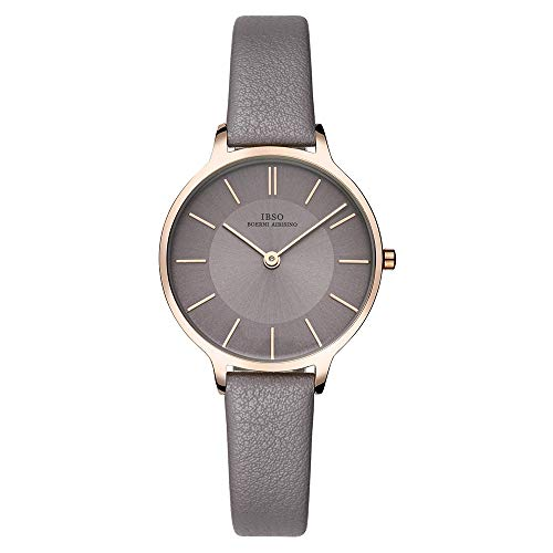 IBSO Women Fashion Simple Watch Ultra-Thin Retro Quartz Analog Leather Strap Ladies Wristwatch (All Grey) - Leather Strap Wrist Watch