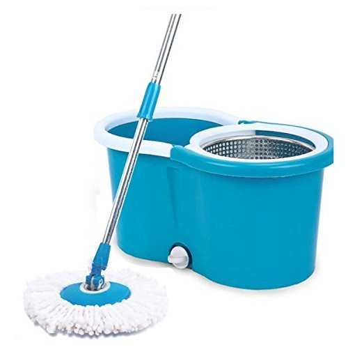 Home Kitchen 360 Degree Spin Mop Bucket System w/ Stainless Wringer and 2 Mop Heads (Blue)