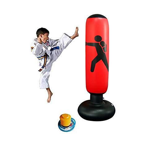 Myfreed 63inch Inflatable Punching Bag Fitness Free Standing Pump Inflatable Punching Bag Children Sandbags Boxing…