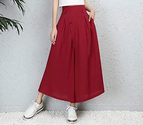 Tinta Pantaloni Boho Unita Donna Loose Yoga Rosso Pants Harem Casual xqwOHpAx