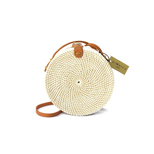 Handwoven Rattan Beach Bag Straw Bali Bag Wicker Bag Natural Ata Grass Crossbody Shoulder Bag (KAMPIAL BAG) ()