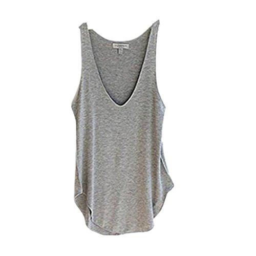 donne Grigio di maglia modo Lady shirt di Collo Fortan T Canotte estate allentata del caramella V wZftxE