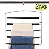 Meetu Pants Hangers 5 Layers Stainless Steel Non-Slip Foam Padded Swing Arm Space Saving Clothes Slack Hangers Closet Storage Organizer for Pants Jeans Trousers Skirts Scarf Ties Towels