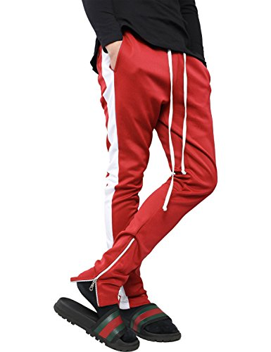 Hat and Beyond VW Mens Stripe Training Pants Skinny Fit Stretch Casual Elastic Athletic Slim Joggers (X-Large, p120_Red/WHI)