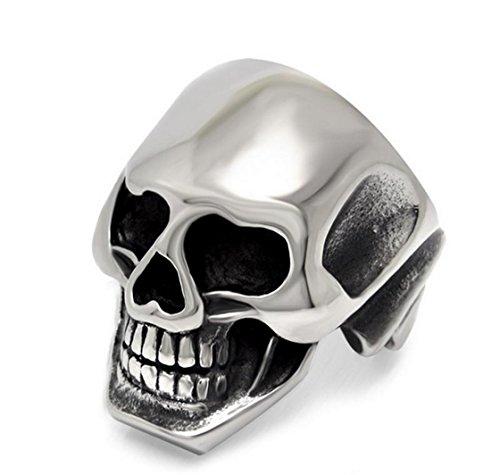 PSRINGS Mirror Smooth Lastest Design s Boy Skull Head Ring 316L Stainless Steel Punk Style Ring Skull Cool Finger Rings 7.0