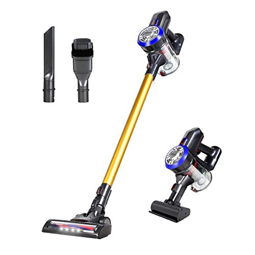 Dibea D18 Lightweight Cordless Stick Vacuum Cleaner, 2 in 1 Bagless Rechargeable Handheld Car Vacuum with Mini Motorized Brush for Floor Carpet Pet Hair, Gold