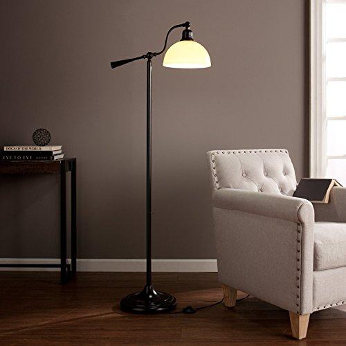 kaley Black Steel, Glass, OttLite CFL Bulb Concord Task Floor Lamp by FurnitureMaxx