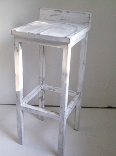 Shabby Distressed Style White Low Back Solid Wood 24