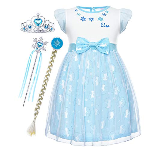 Cmiko Princess Elsa Costume Dresses Dress Up Clothes Skirts for Toddler Girls Cosplay Birthday Party with Accessories Size 2t 3t XS(3) 2-3 Years (Light Blue)