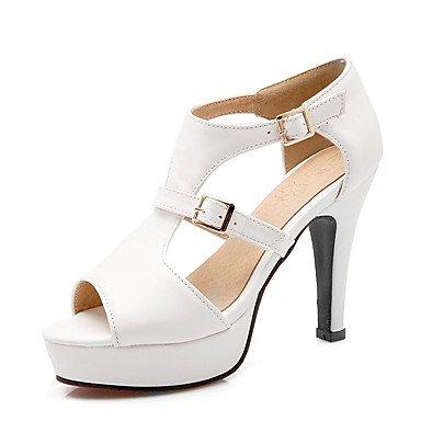 LvYuan Mujer-Tacón Cono-Otro Zapatos del club-Sandalias-Boda Vestido Fiesta y Noche-Semicuero-Negro Blanco Gris Yellow