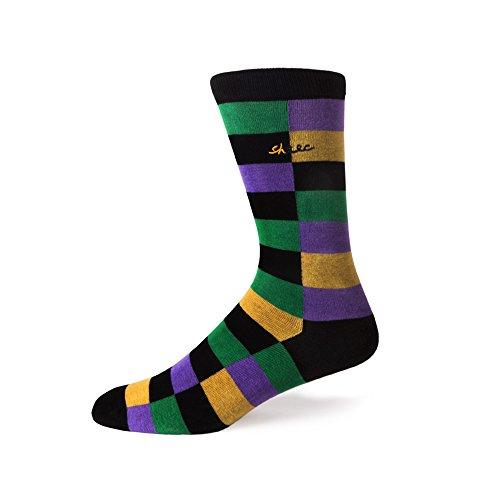 Sheec - TrouSox - Mardi Gras Multi-Block Crew Length Dress Socks (Mardi Gras Fashion)