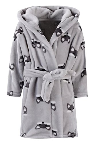 (Ameyda Cosplay Costumes Kids Baby Boys Girls Cute Fox Cartoon Plush Robe Fleece Hooded Bathrobe, Gray Fox, 7-8)