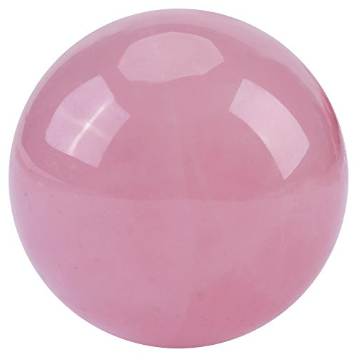 Natural Pink Rose Quartz Sphere Crystal Ball Healing Stone for Massage Home Decoration ()